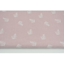 Double gauze 100% cotton white palm leaves on a dirty heather background