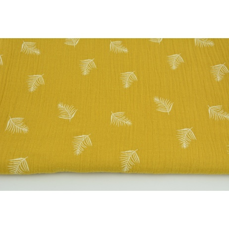 Double gauze 100% cotton white palm leaves on a mustard background