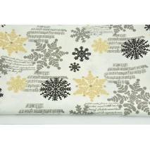 Tkanina dekoracyjna, czarne, złote śnieżynki na kremowym tle 187g/m2