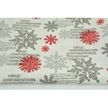 Tkanina dekoracyjna, czerwone, srebrne śnieżynki na kremowym tle 187g/m2