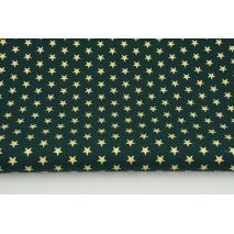 Bawełna 100% złote gwiazdki 1cm na choinkowej zieleni PREMIUM