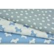 Bawełna 100% białe plamki na szaro-błękitnym tle PREMIUM