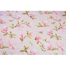 Bawełna 100% magnolie na różowym tle