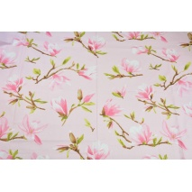 Cotton 100% magnolias on a pink background