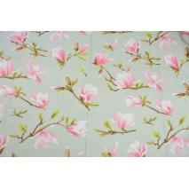 Bawełna 100% magnolie na szarym tle