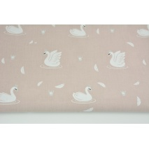 Cotton 100% swans in silver crowns on a dirty pink background