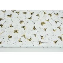 Bawełna 100% malowane strzałki musztardowo-czarne na białym tle w kropki