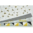 Cotton 100% painted mustard-black arrows on a white dotted background