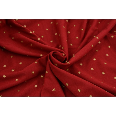 Knitwear 100% cotton golden stars on a burgundy background