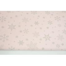 Looped knitwear silver snowflakes on a light pink background