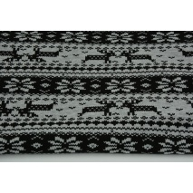Looped knitwear black Scandinavian pattern on a light gray melange