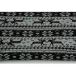 Dzianina, dresówka pętelkowa czarny wzór skandynawski na jasnym szarym melanżu