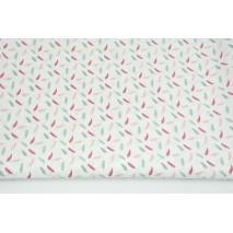 Bawełna 100% małe piórka szaro-różowe na białym tle PREMIUM