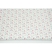 Cotton 100% small gray-pink feathers on a white background PREMIUM