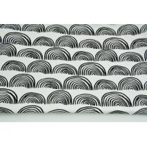 Bawełna 100% czarne półokręgi na białym tle PREMIUM