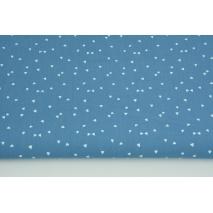 Bawełna 100% białe mikro trójkąty na niebieskim tle PREMIUM