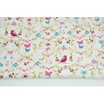 Cotton 100% birds, butterflies, flowers on a white background PREMIUM