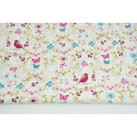 Cotton 100% birds, butterflies, flowers on a white background PREMIUM