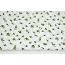 Bawełna 100% małe pszczółki na białym tle PREMIUM