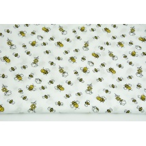 Cotton 100% small bees on a white background PREMIUM