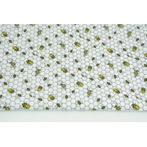 Bawełna 100% małe pszczółki na szarych plastrach miodu białym tle PREMIUM