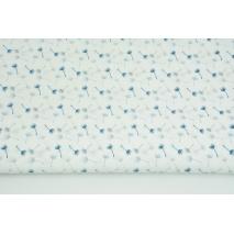 Bawełna 100% małe dmuchawce szaro-niebieskie na białym tle PREMIUM