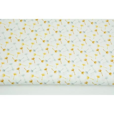 Bawełna 100% małe dmuchawce szaro-miodowe na białym tle PREMIUM