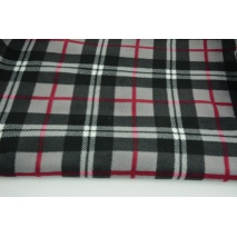 Polar fleece double sided, gray-burgundy check