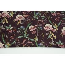 100% PES clothing fabric, field flowers on dark heather