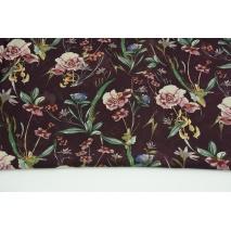 100% PES tkanina odzieżowa, polne kwiaty na ciemnym wrzosie