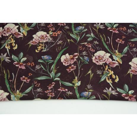 100% PES clothing fabric, field flowers on dark heather