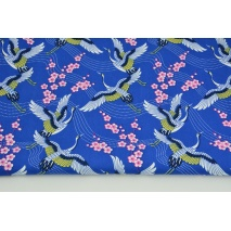 Cotton 100% cranes on a cornflower background PREMIUM