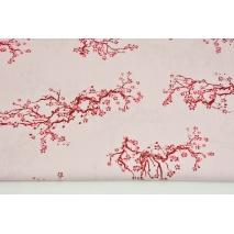 Bawełna 100% japońskie kwiaty na jasnoróżowym tle PREMIUM