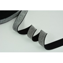 Rubber with lurex 20mm black with silver thread