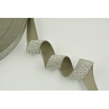 Rubber with lurex 20mm gray with silver thread