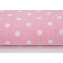 Bawełna 100% kropki białe 7mm na różowym tle