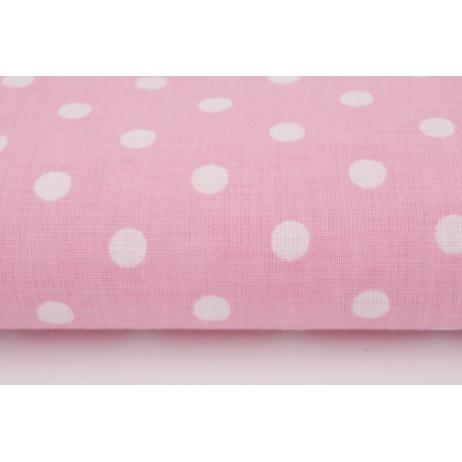 Bawełna 100% kropki 7mm na różowym tle