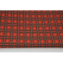 Dzianina 100% bawełniana szkocka krata czerwono-zielona