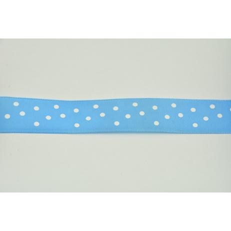 Tasiemka, wstążka niebieska w kropki 25mmx10m