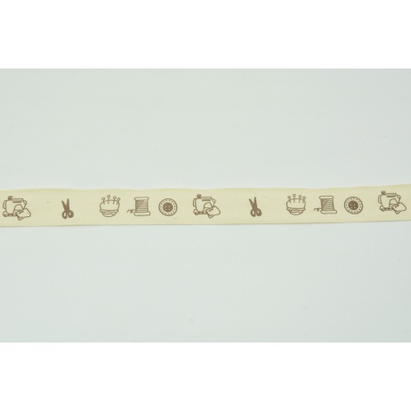 Cotton ribbon with sewing pattern (2) 20mm