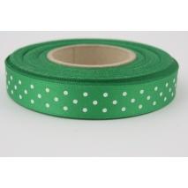 Tasiemka, wstążka 15mm zielona w kropki