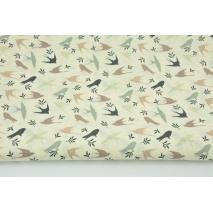 Bawełna 100% beżowo-zielone jaskółki na kremowym tle