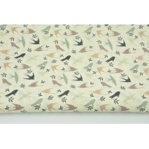 Cotton 100% beige and green swallows on a cream background