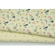 Cotton 100% peach and pink swallows on a cream background