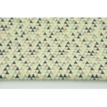 Bawełna 100% beżowo-zielone mini trójkąty na kremowym tle RZ