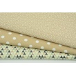 Cotton 100% beige and green mini triangles on a cream background RZ