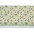 Bawełna 100% brzoskwiniowo-różowe mini trójkąty na kremowym tle