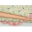 Cotton 100% peach and pink mini triangles on a cream background RZ