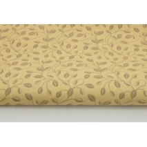 Cotton 100% leaves with stems on a beige background II quality