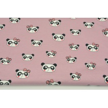 Jersey in a pattern of pandas on blueberry pink background